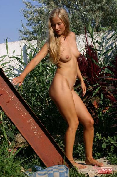 Hot Blonde Teen Posing Outside Nude